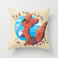 fnaf Throw Pillows featuring Foxy the pirate by TRGreta