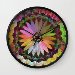 Tropical Daisy Kaleidoscope Wall Clock