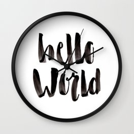 Hello World - Hand Lettering Wall Clock