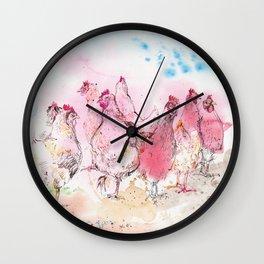 Chicken Huddle Wall Clock