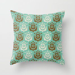 Mid Century Modern Retro Flower Pattern Turquoise and Brown 931 Throw Pillow