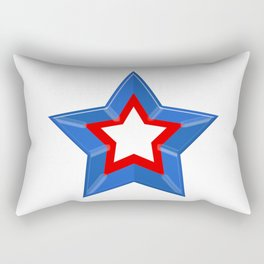 Patriotic Star Solid Red White and Blue Rectangular Pillow