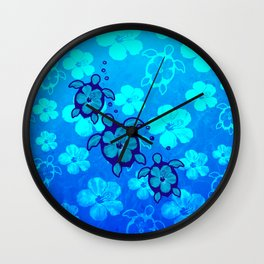 3 Blue Honu Turtles Wall Clock