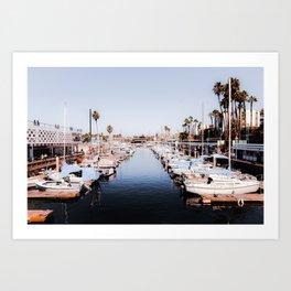 Boat with blue sky at Redondo beach California USA Art Print