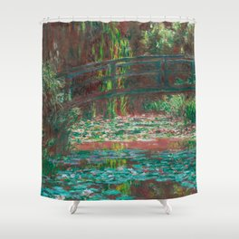 Water Lillies and Bridge by Claude Monet Shower Curtain