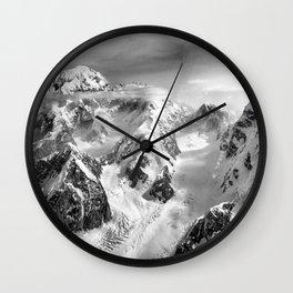 Denali Massif from the Air - Denali & Foraker Wall Clock