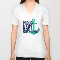 boyfriend V-neck T-shirts featuring Proud Navy Boyfriend by The Other McClane