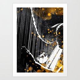 Harp music art gold and black #harp #music Art Print