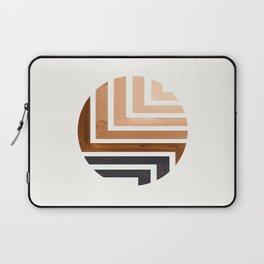 Raw Umber Circle Round Framed Mid Century Modern Aztec Geometric Pattern Maze Laptop Sleeve