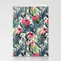 pink floyd Stationery Cards featuring Painted Protea Pattern by micklyn