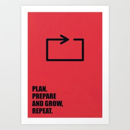 Lab No. 4 -Plan, prepare and grow, repeat corporate start-up quotes Poster Art Print