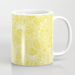 Modern trendy white floral lace hand drawn pattern on meadowlark yellow Coffee Mug