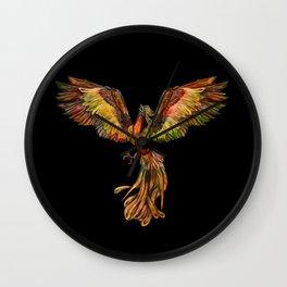 Phoenix Rising - on black Wall Clock