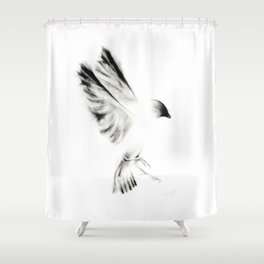Ink and Charcoal Bird Shower Curtain