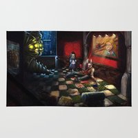 bioshock infinite Area & Throw Rugs featuring Bioshock by Michele Giorgi