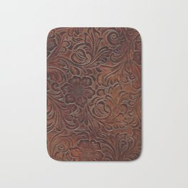 Burnished Rich Brown Tooled Leather Bath Mat