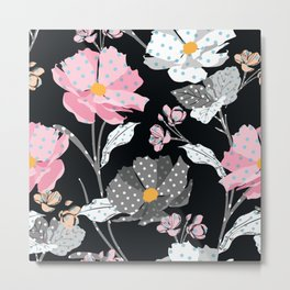 Paper Flowers in Pink Black and White Metal Print