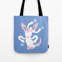 sylveon Tote Bags featuring Sylveon by Polvo