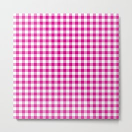 Shocking Hot Pink Valentine Pink and White Buffalo Check Plaid Metal Print