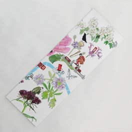 London in Bloom - Flowers and transportation that make London Yoga Mat