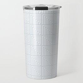 optical art pattern squares in white and a pale icy gray Travel Mug