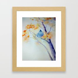 Nuthatch Aspen Morning Looking Up watercolour by CheyAnne Sexton Framed Art Print