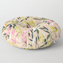 Black yellow and pink leaves collage pattern Floor Pillow