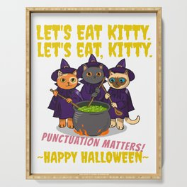 Let's Eat Kitty Punctuation Matters Halloween Edition 01 Serving Tray