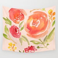 peonies Wall Tapestries featuring Peonies by Dea Brazil
