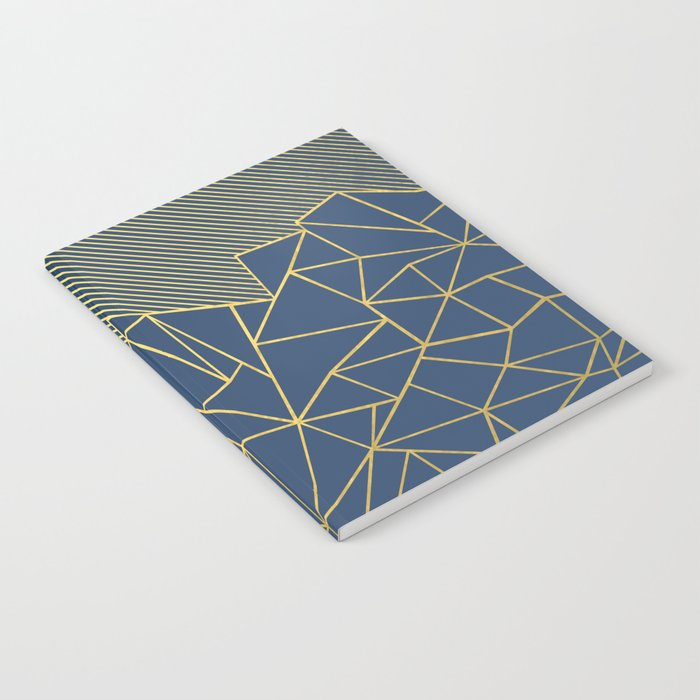 Ab Lines 45 Navy and Gold Notebook