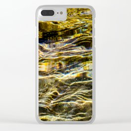 Prismatic Waves in Gold and Green Clear iPhone Case
