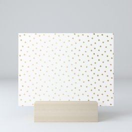 Delicate Gold Polka Dots Mini Art Print