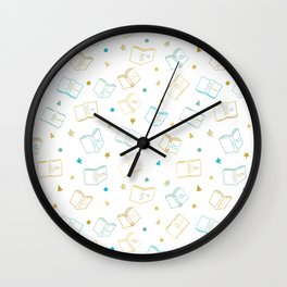 Classic Book Doodles Blue & Yellow Wall Clock