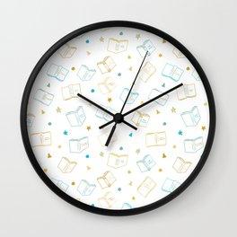 Classic Book Doodles Blue & Yellow Wall Clock