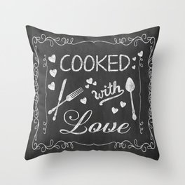 Cooked with Love Retro Chalkboard Sign Throw Pillow