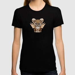 Cute Leopard Cub Fairy Wearing Glasses on Blue T-shirt