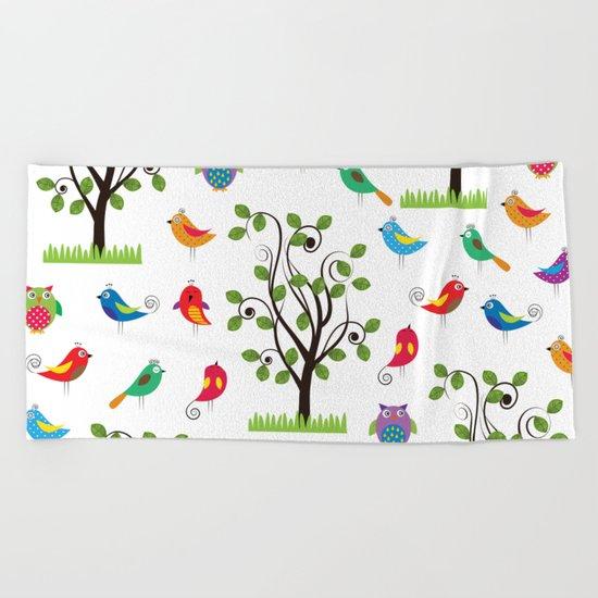 summer birds pattern Beach Towel