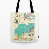 princess bride Tote Bags featuring Princess Bride Discovery Map by Wattle&Daub
