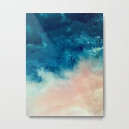 Where the Sky Meets the Sea Blue and Pink Abstract Metal Print