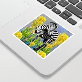 ZEBRA YELLOW ORCHIDS TROPICAL BLOOM Sticker