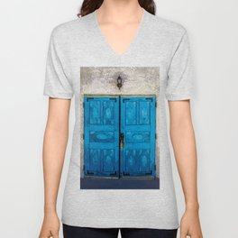 Blue Doors of San Ysidro Mission - Jemez Reservation, New Mexico Unisex V-Neck