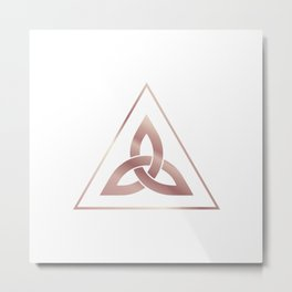 RoseGold Triangle Flower by Ania Mardrosyan Metal Print