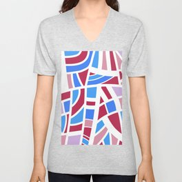 Broken Pink And Blue Abstract Unisex V-Neck