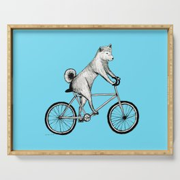 Shiba Inu Riding a Bicycle Serving Tray