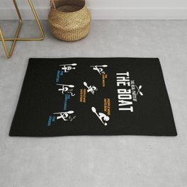 Funny rowing and boating T-shirt Rug