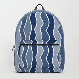 Blue Mid Century Modern Abstract Wave Pattern // Medium Vertical Wavy Lines Backpack