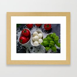 Trio of tomatoes basil fresh mozzarella Framed Art Print