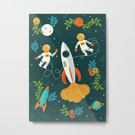 Race to the Moon with Flower Power Metal Print