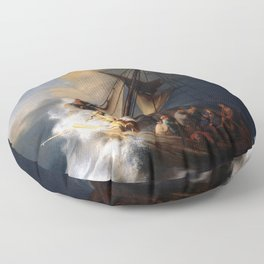 Rembrandt - The Storm on the Sea of Galilee Floor Pillow