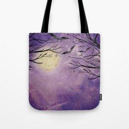 Haunted Moonlight Kitschy Halloween Spooky Watercolor Tote Bag